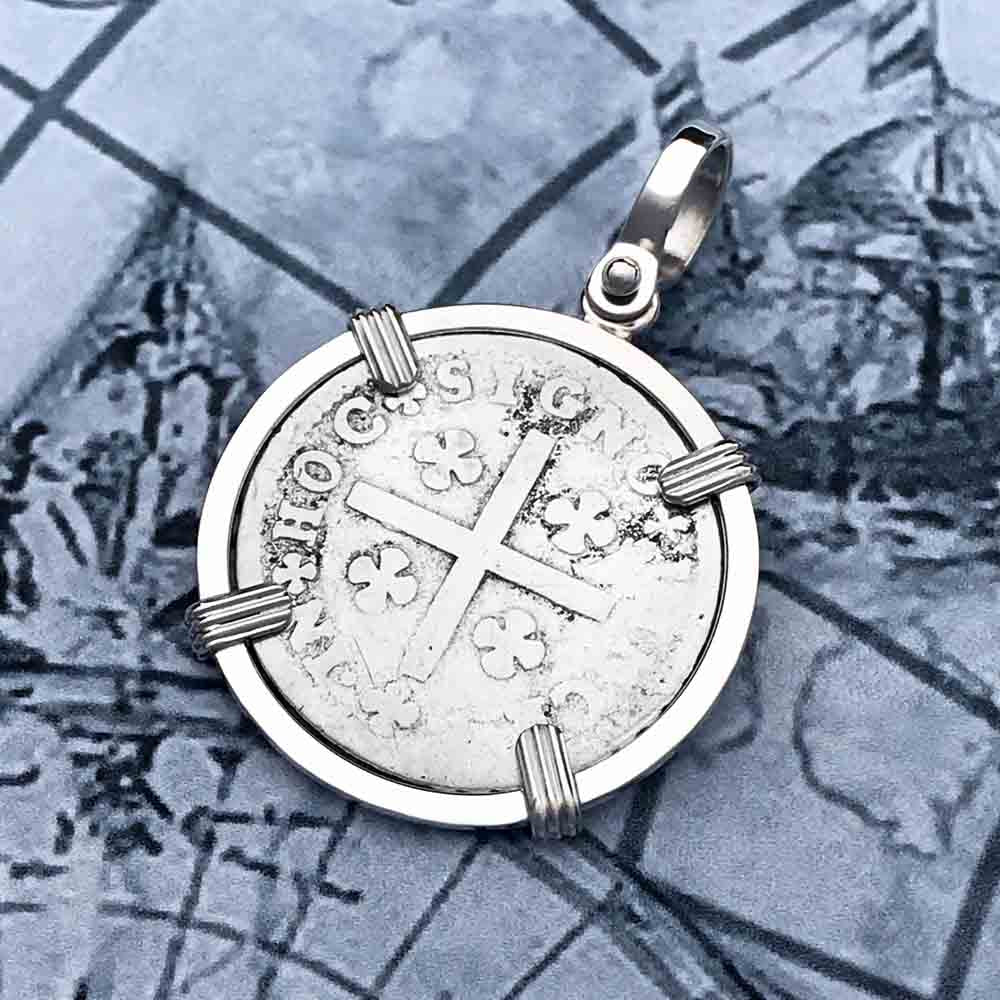 "Portuguese Silver 120 Reis ""In This Sign Conquer"" Crusaders' Cross Necklace"