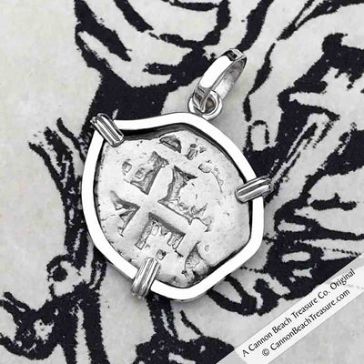 "1757 Dated Spanish 1 Reale Pirate ""Piece of Eight"" Sterling Silver Necklace"
