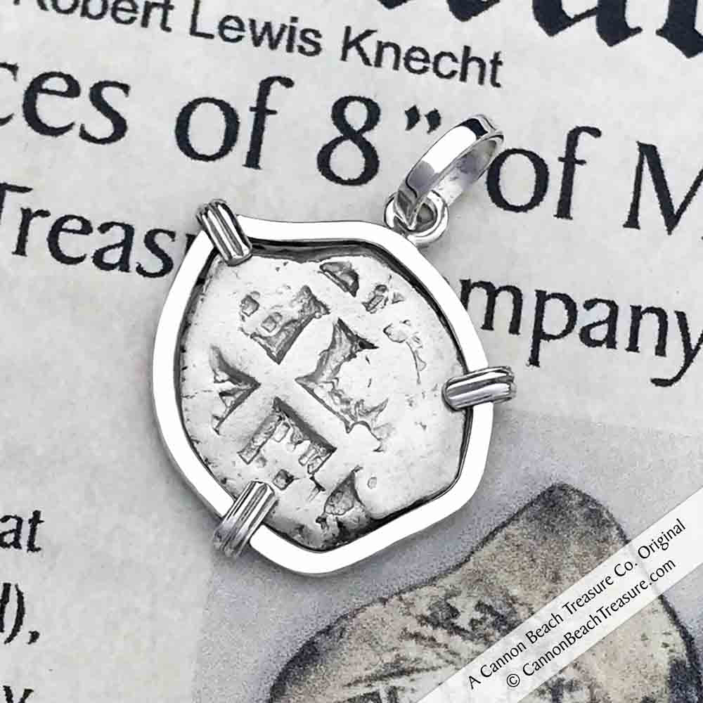 "1757 Spanish 1 Reale Pirate ""Piece of Eight"" Sterling Silver Necklace 