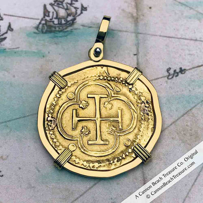 1559 Shipwreck 22K Gold 2 Escudo - the Legendary Doubloon - 18K Gold Pendant | Artifact #5193