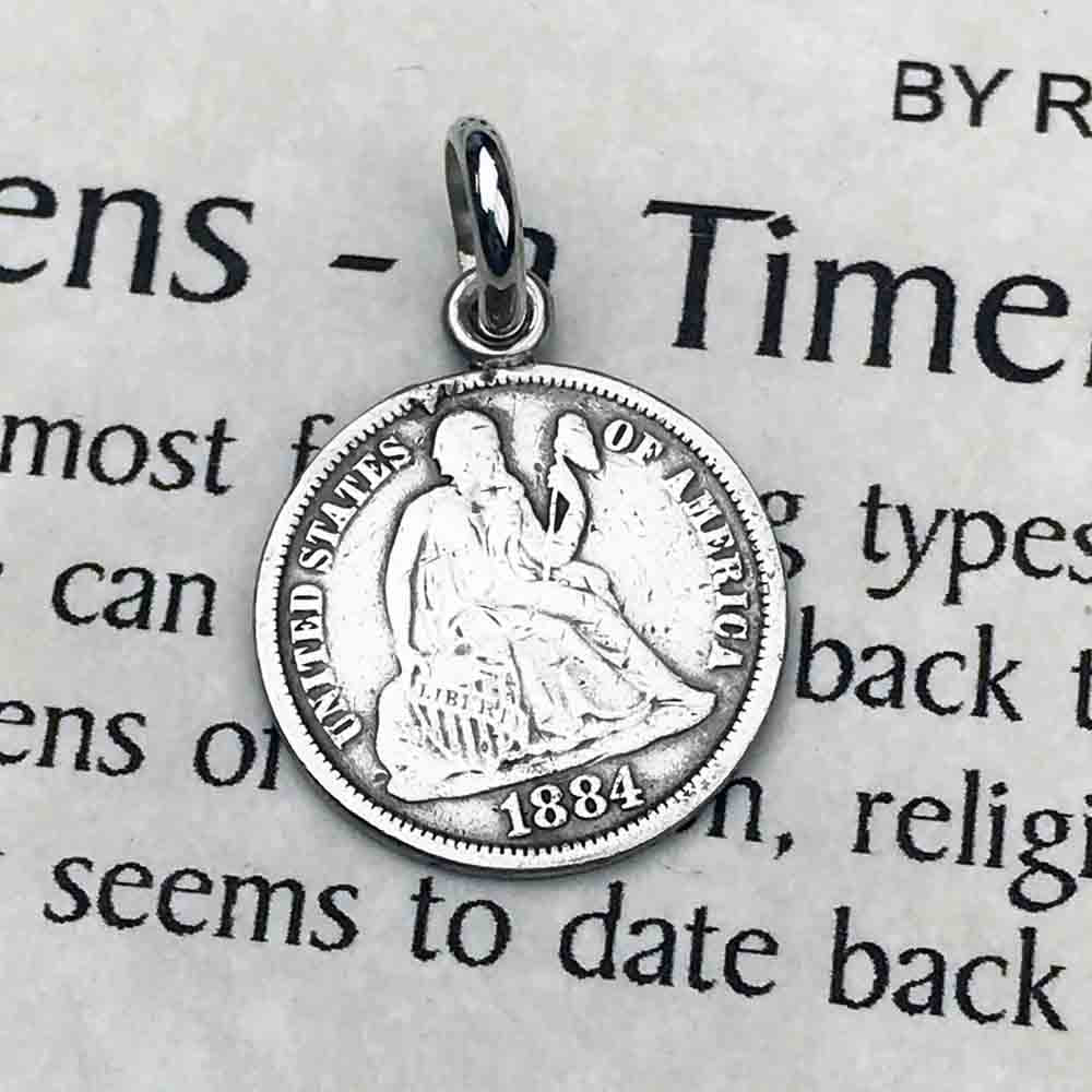 "1884 ""Father"" Victorian era Love Token Silver Dime Necklace 