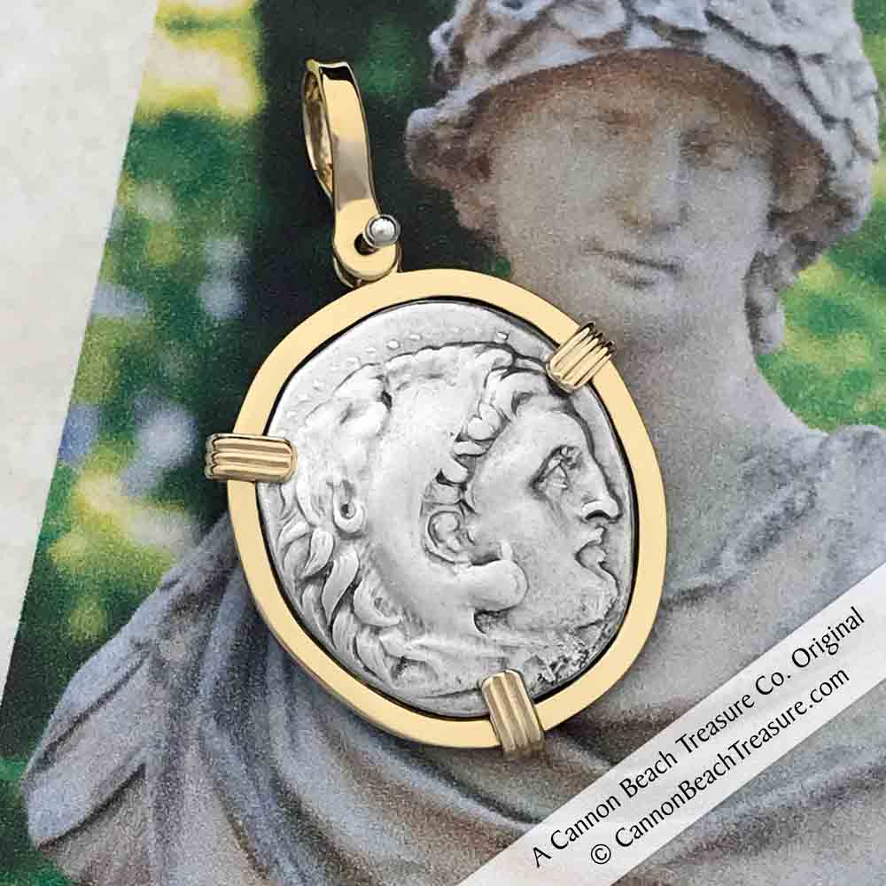 Ancient Greek Alexander the Great Silver Drachm Coin circa 323 BC 14K Gold Necklace