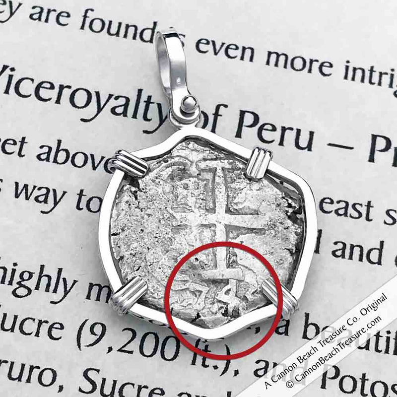 "1743 Double Dated Spanish 2 Reale Pirate ""Piece of Eight"" Sterling Silver Necklace 
