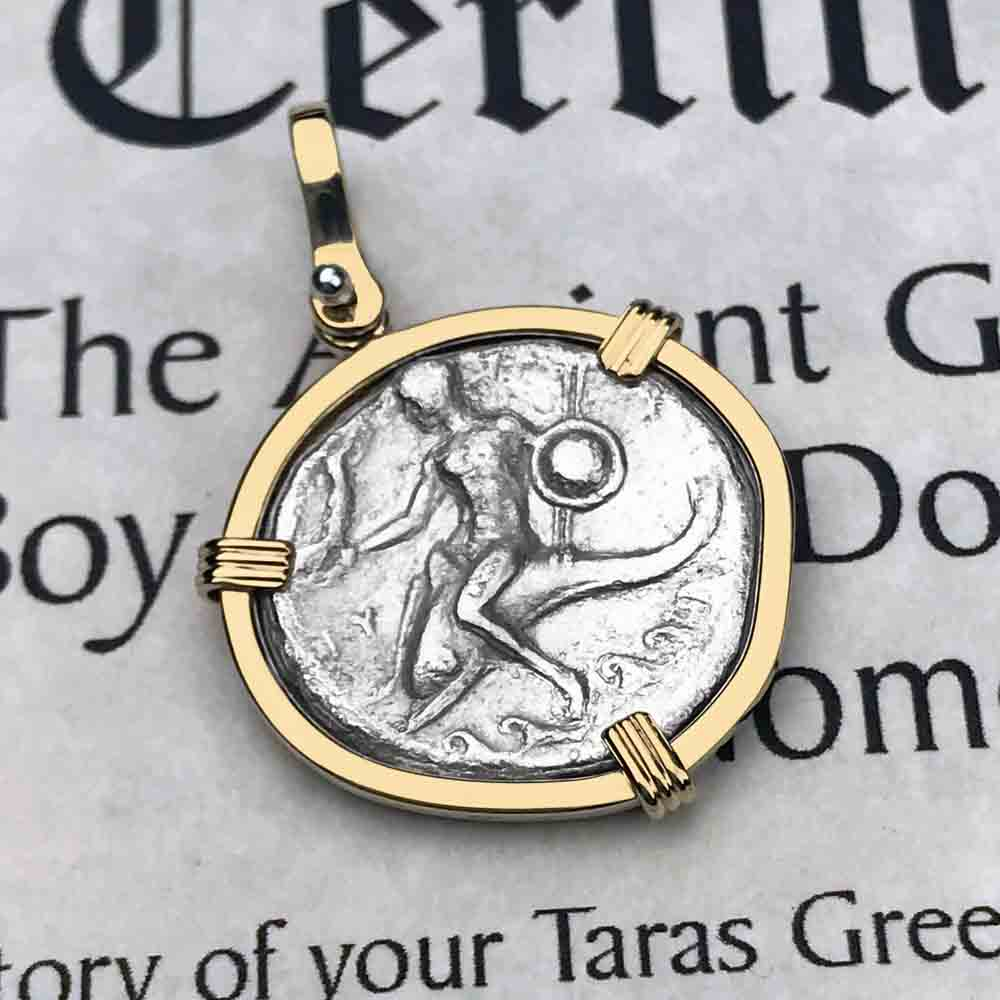 Ancient Greek Boy on the Dolphin Silver Nomos 272 BC Necklace in 14K Gold