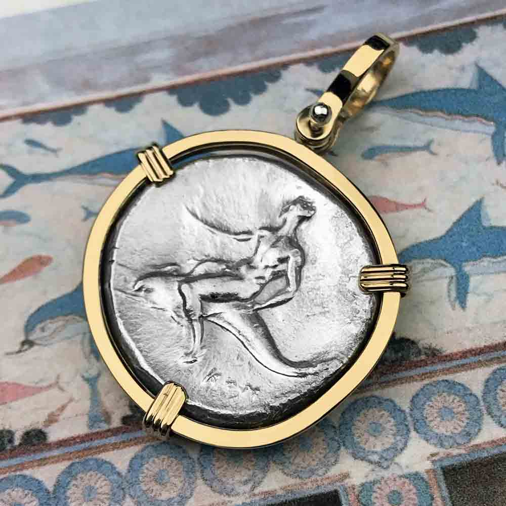 Ancient Greek Boy on the Dolphin Silver Nomos 302 BC Necklace in 14K Gold