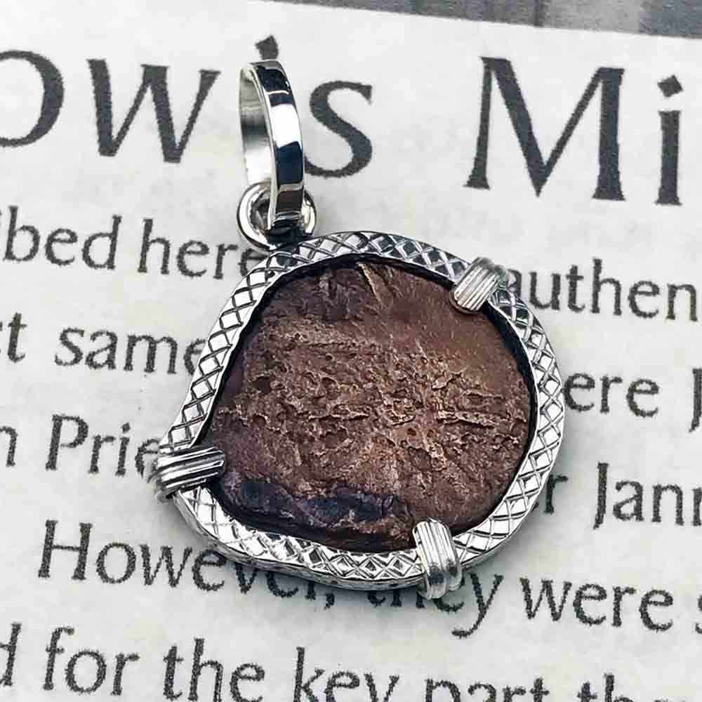 Crosshatch Style Biblical Widow's Mite Sterling Silver Necklace