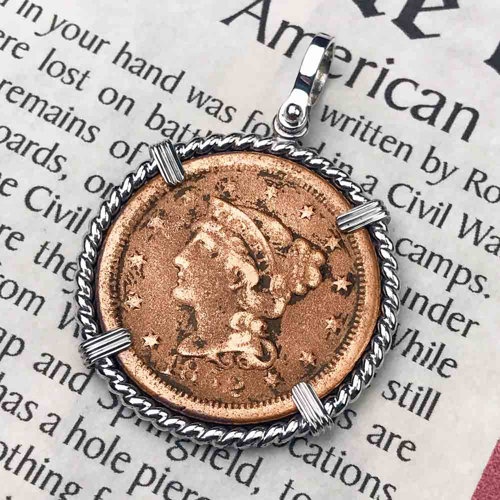 1852 Civil War Activity Area U.S. Large Cent Sterling Silver Necklace
