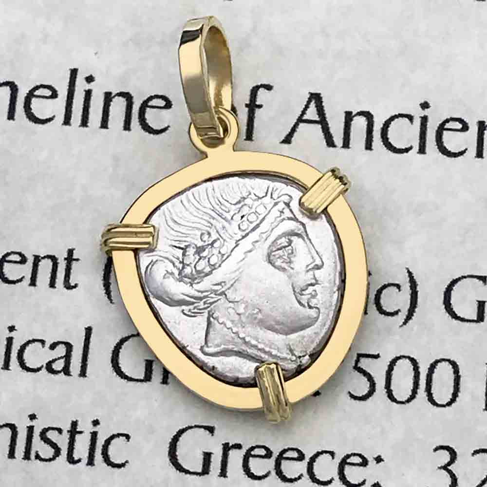 Ancient Greece Histiaia Water Nymph 300 BC Silver Tetrobol Necklace in 14K Gold