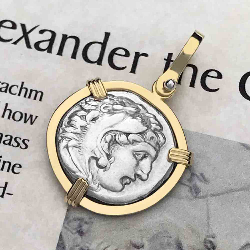 Ancient Greek Alexander the Great Silver Drachm Coin circa 323 BC 18K Gold Necklace