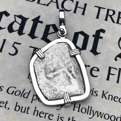 "1715 Fleet Shipwreck Spanish 2 Reale ""Piece of 8"" Sterling Silver Necklace"