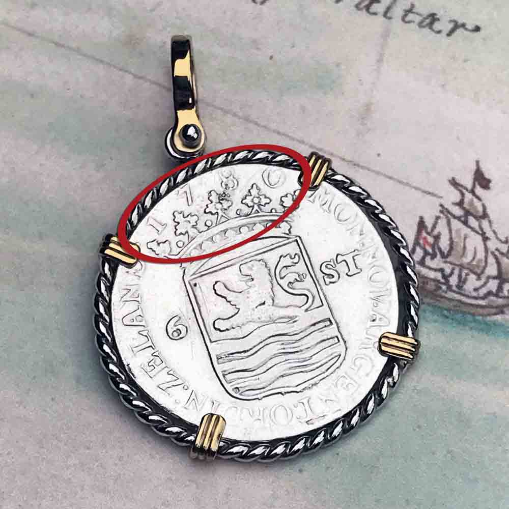 "Dutch East India Company 1780 Stuiver ""Ship Shilling"" Necklace"