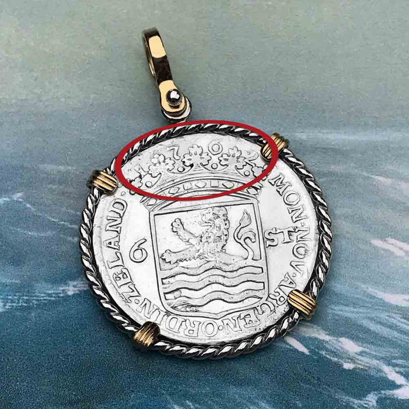 "Dutch East India Company 1762 Stuiver ""Ship Shilling"" Necklace"