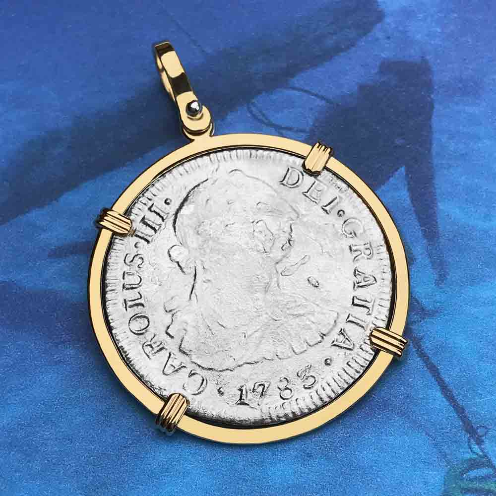 "El Cazador Shipwreck 1783 2 Reale ""Piece of 8"" 14K Gold Treasure Coin Necklace"