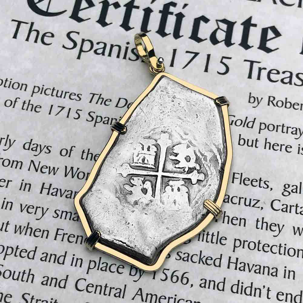 1715 Fleet Shipwreck 8 Reale Piece of Eight 14K Gold Necklace - NASA Frank Vaughn Collection