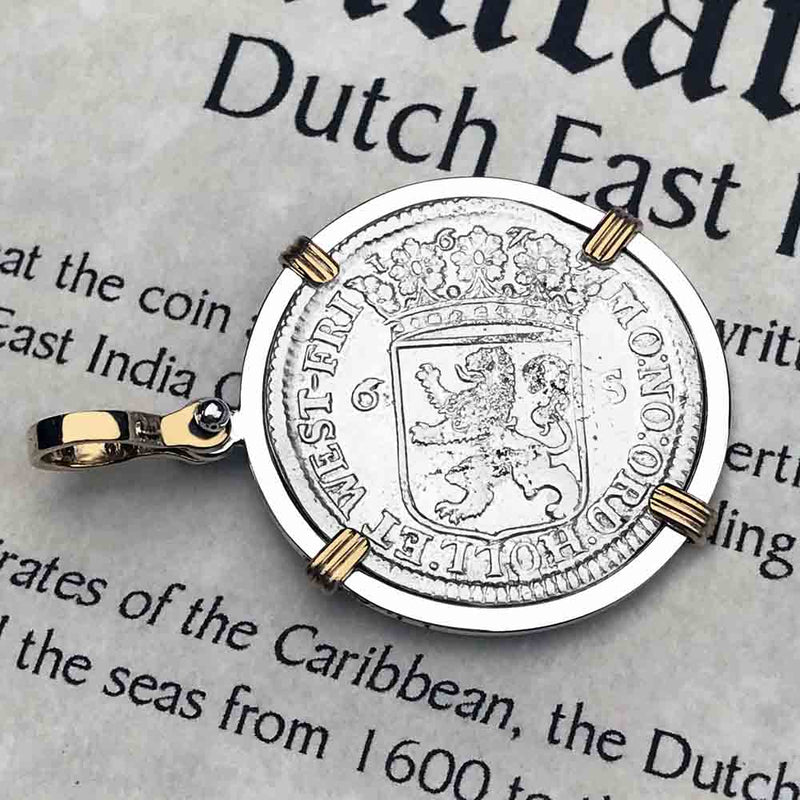 "Dutch East India Company 1679 Stuiver ""Ship Shilling"" 14K Gold and Sterling Necklace"