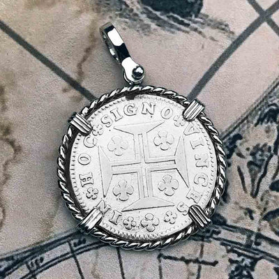 "Portuguese 120 Reis ""In This Sign Conquer"" Crusaders' Cross Sterling Necklace"