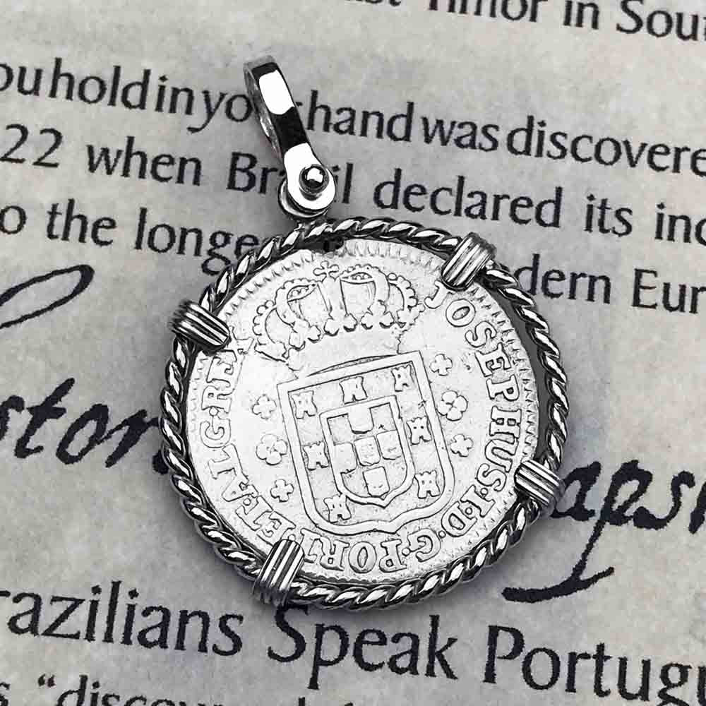 "Portuguese 120 Reis ""In This Sign Conquer"" Crusaders' Cross Sterling Silver Necklace 