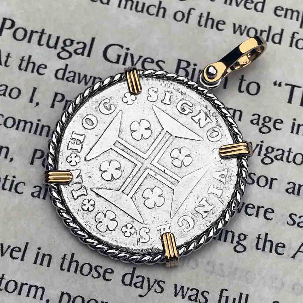 "Portuguese 200 Reis ""In This Sign Conquer"" Crusaders' Cross 14K Gold and Sterling Silver Necklace 