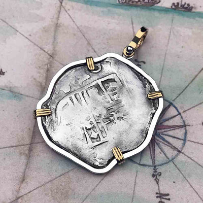 Concepcion Shipwreck Rare Spanish 4 Reale Silver Piece of Eight 14K Gold & Sterling Necklace