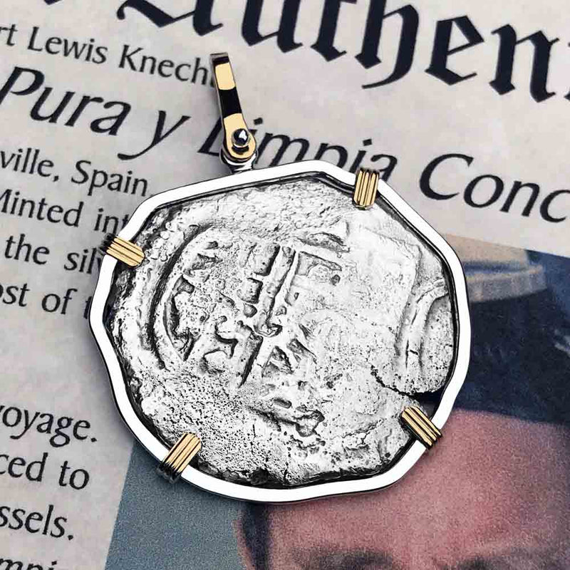 Concepcion Shipwreck Rare Circa 1640 Spanish 4 Reale Silver Piece of Eight 14K Gold & Sterling Necklace