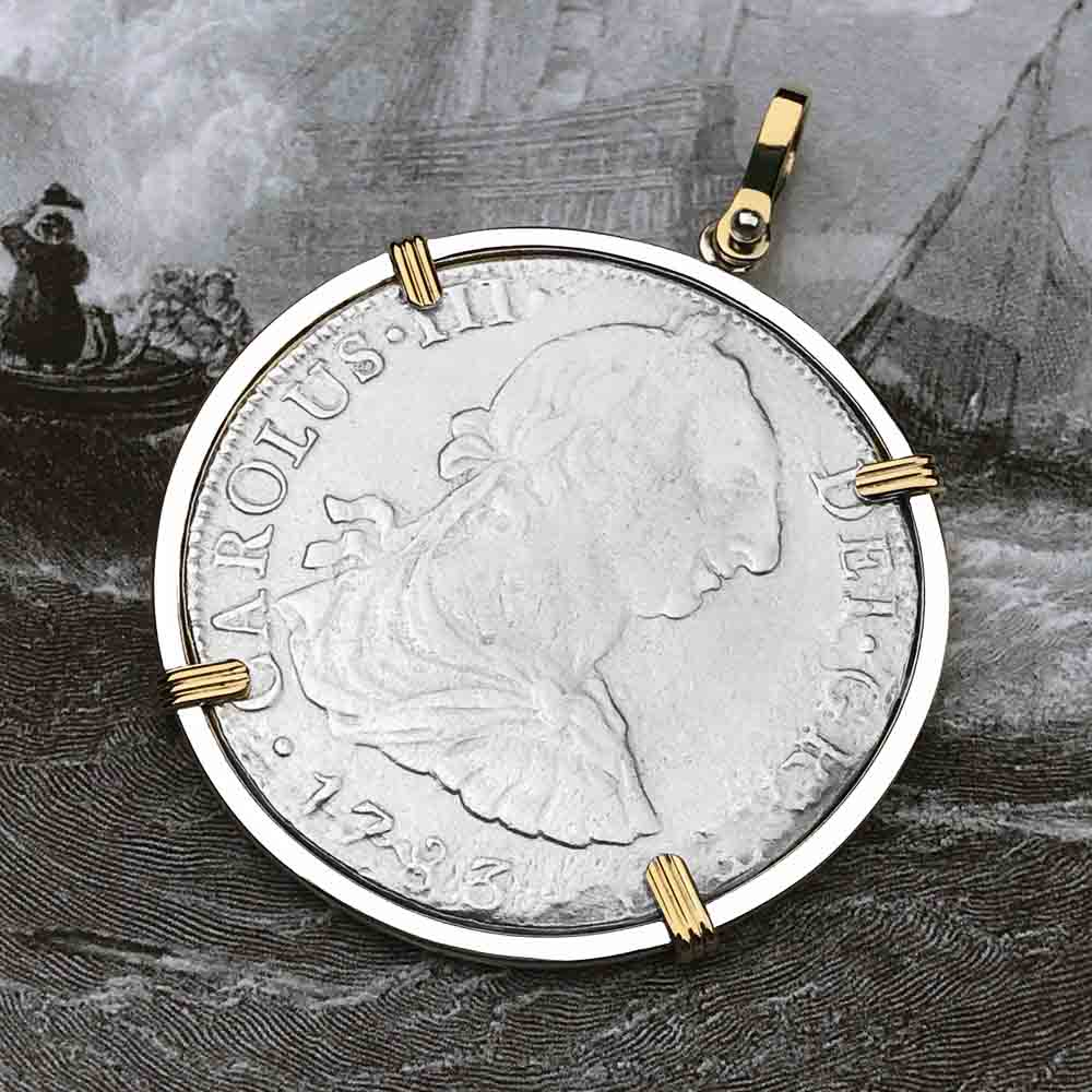 "El Cazador Shipwreck 1783 8 Reale ""Piece of 8"" 14K Gold & Silver Treasure Coin Necklace"