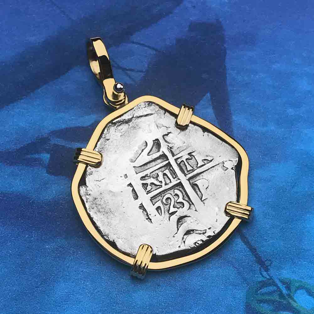 Princess Louisa Shipwreck 1723 2 Reale Piece of Eight 14K Gold Necklace