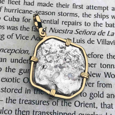 Concepcion Shipwreck Spanish 2 Reale Silver Piece of Eight 14K Gold  Necklace | Artifact #5315