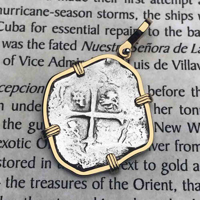 Concepcion Shipwreck Spanish 2 Reale Silver Piece of Eight 14K Gold  Necklace