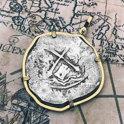 Concepcion Shipwreck Spanish 8 Reale Silver Piece of Eight 14K Gold Necklace | Artifact #5318