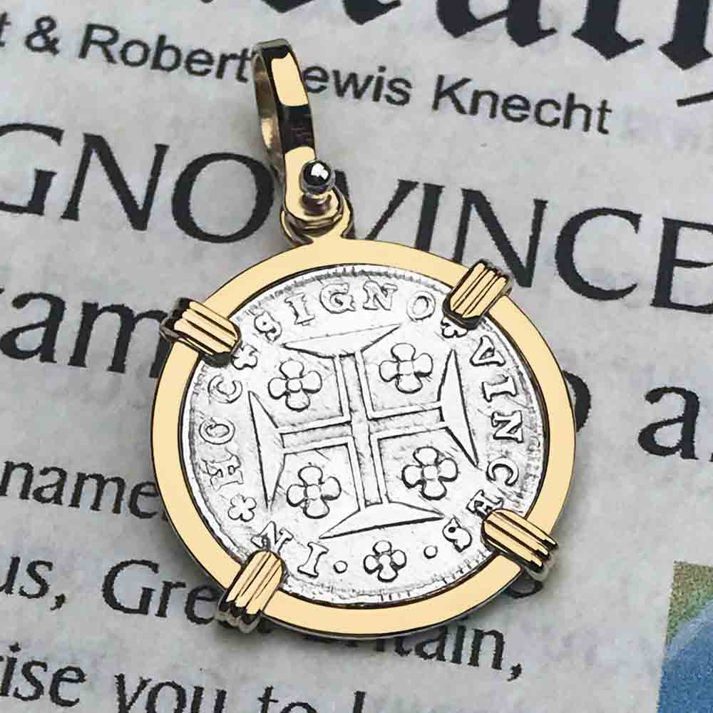 "Portuguese 60 Reis ""In This Sign Conquer"" Crusaders' Cross 14K Gold Necklace"