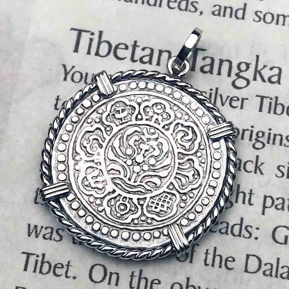 Tibet Ga-den Tanka a Lotus & Buddha's Eight Paths to Enlightenment & Good Fortune Mandala Sterling Silver Necklace