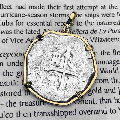 EXTREMELY RARE Concepcion Shipwreck Spanish 4 Reale Silver Piece of 8 w/ Coral Attached 18K Solid Gold Necklace