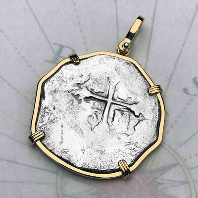 Concepcion Shipwreck Rare Spanish 4 Reale Silver Piece of Eight 14K Solid Gold Necklace