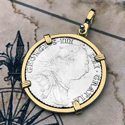Pirates of the Caribbean Virtually Uncirculated Great Britain 1787 Shilling 18K Gold Necklace