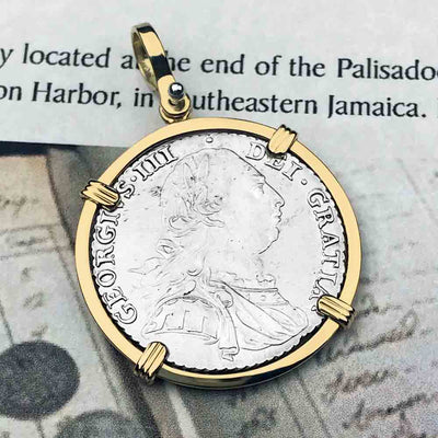 Pirates of the Caribbean Virtually Uncirculated Great Britain 1787 Shilling 18K Gold Necklace | Artifact #5336