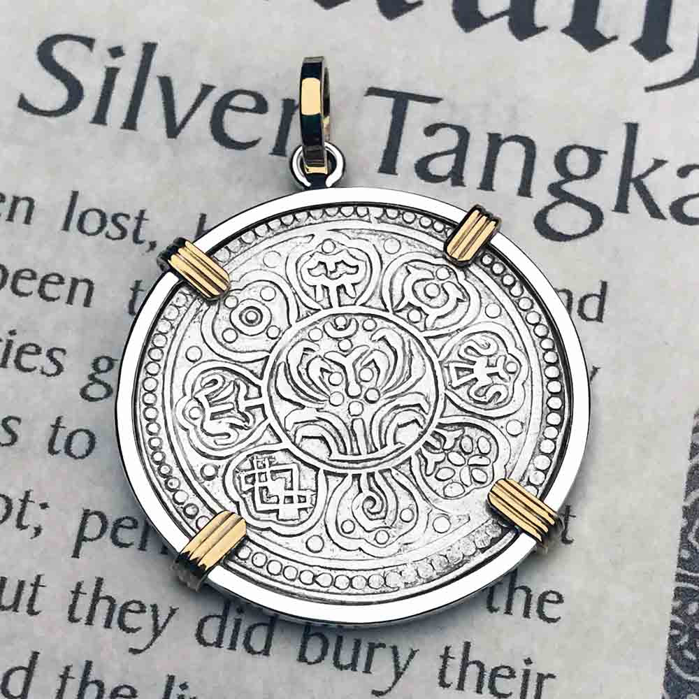 Tibet Ga-den Tanka a Lotus & Buddha's Eight Paths to Enlightenment & Good Fortune Mandala 14K Gold & Sterling Silver Necklace