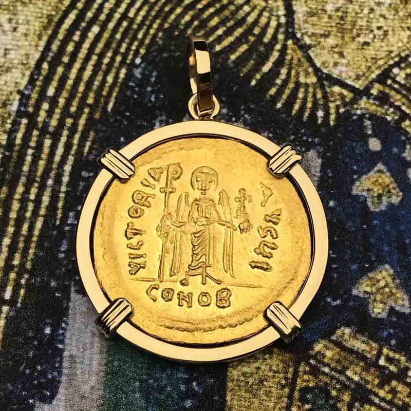 Byzantine Empire Gold Cross Solidus Coin Circa 607 AD in 18K Gold Pendant