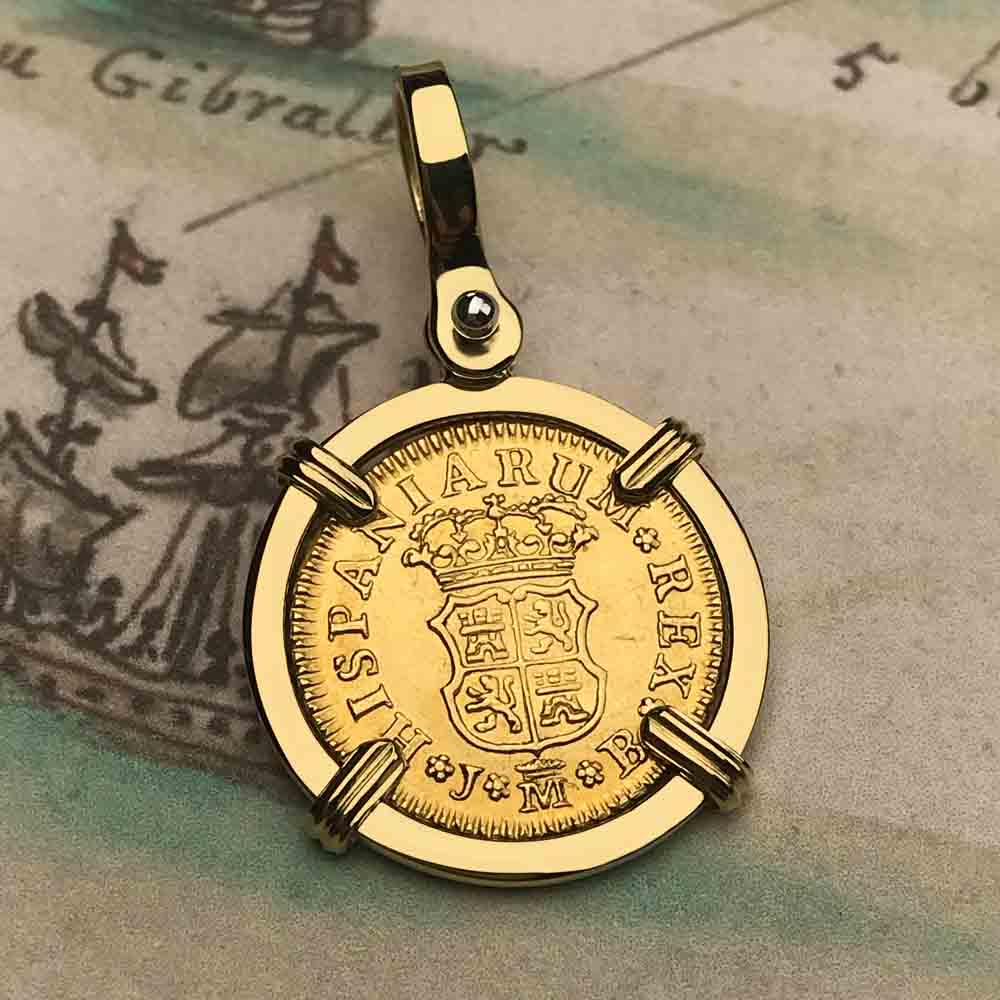 1748 Spanish Gold Portrait 1/2 Escudo - the Legendary Doubloon - 18K Gold Necklace