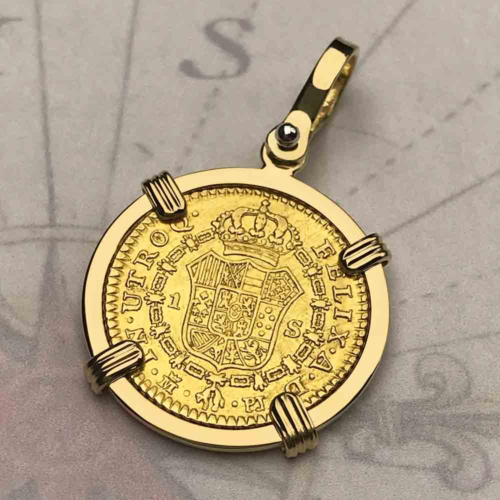 1781 Spanish Gold Portrait 1 Escudo - the Legendary Doubloon - 18K Gold Necklace