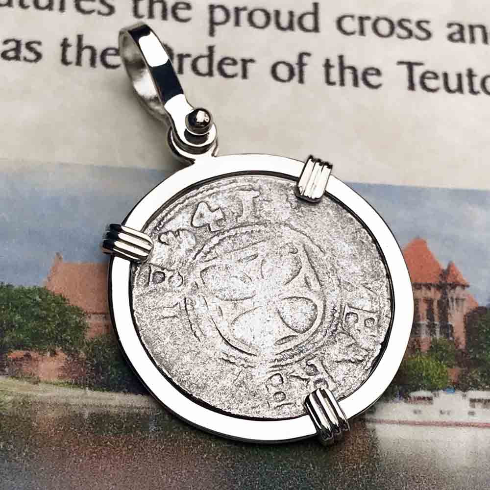 Help, Defend, Heal - Dated 1541 Crusader Coin of the Teutonic Knights Silver Pendant