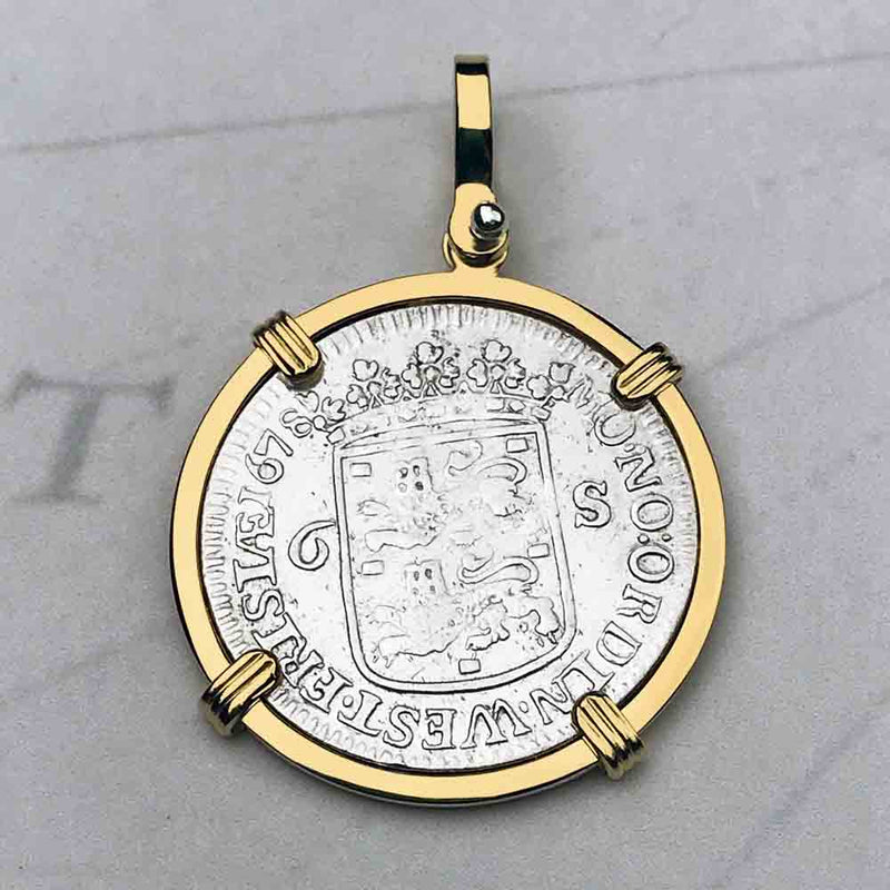 "Dutch East India Company 1678 Silver 6 Stuiver Ship Shilling ""God is our Refuge and Strength"" 18K Gold Necklace"