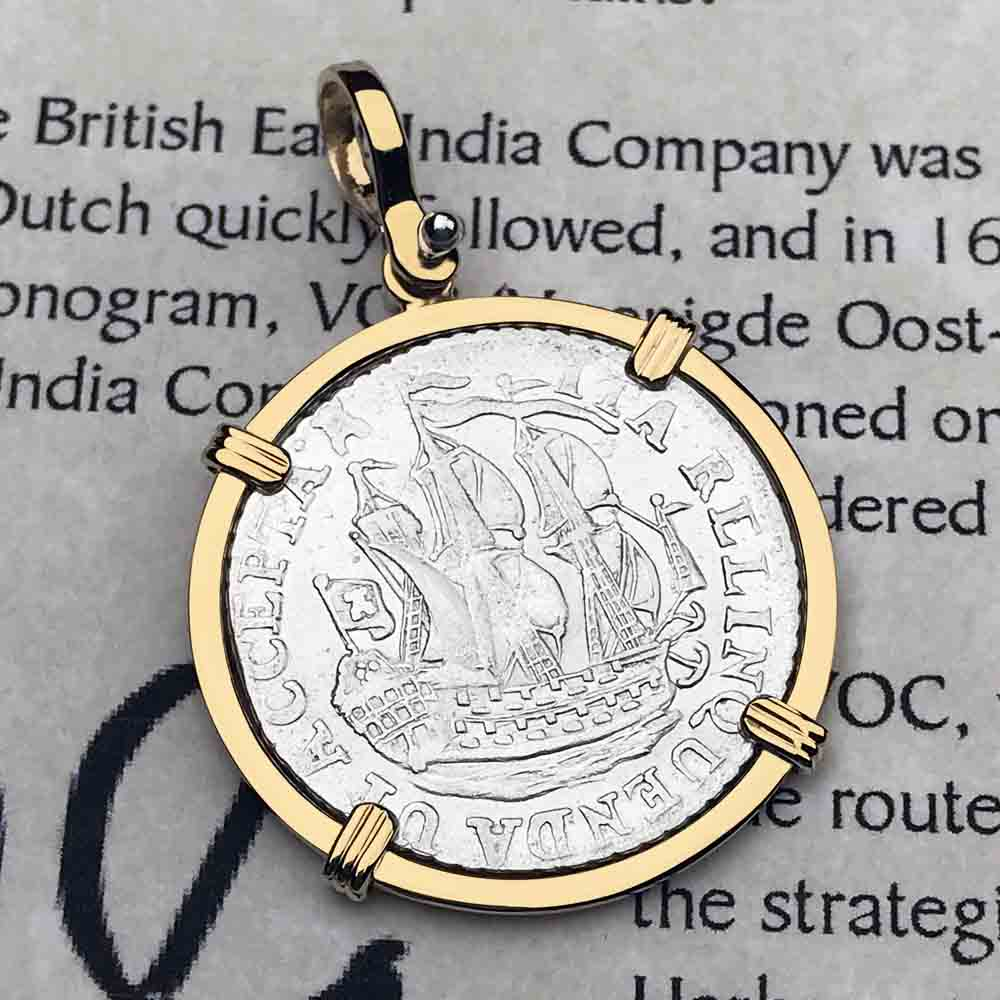 "Dutch East India Company 1792 Silver Stuiver ""Ship Shilling"" Necklace"
