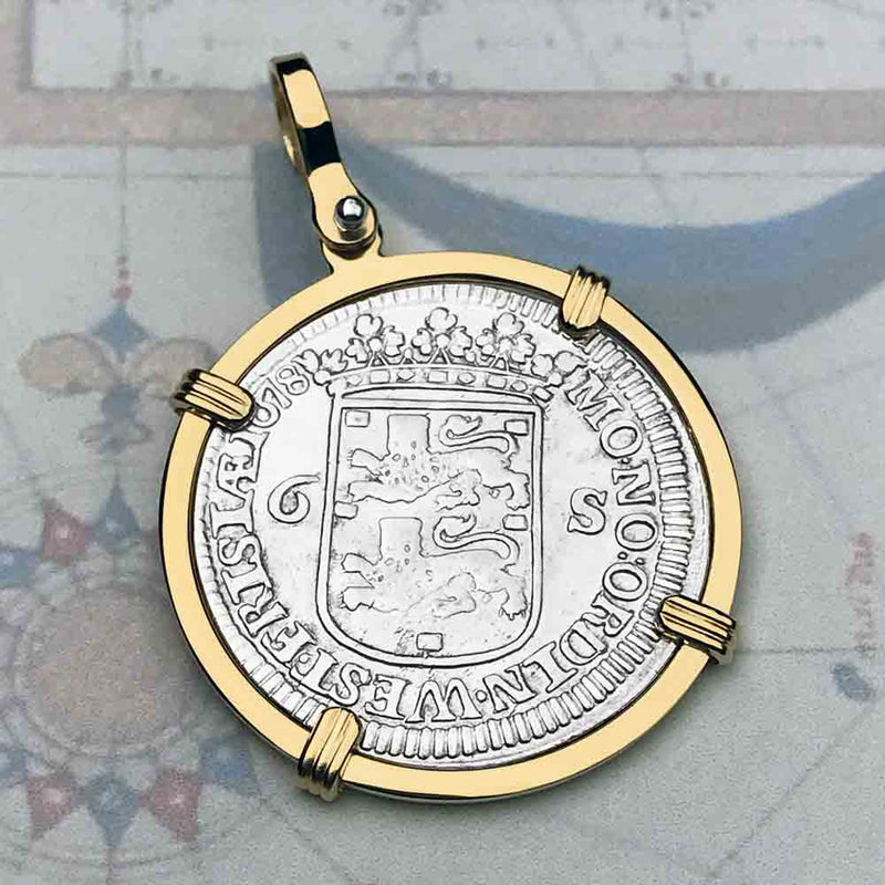"Dutch East India Company 1678 6 Stuiver Ship Shilling ""God is our Refuge and Strength"" 14K Gold Necklace"