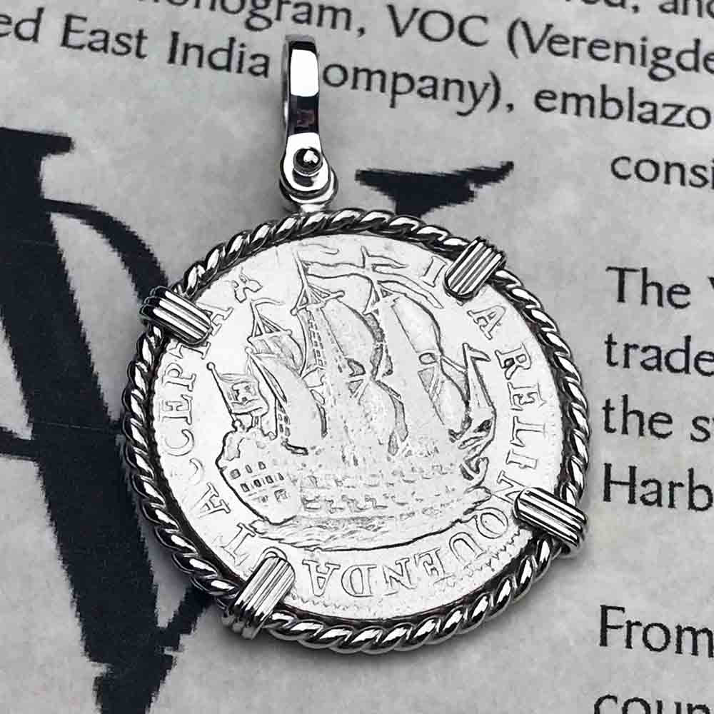 "Dutch East India Company 1785 Silver 6 Stuiver Ship Shilling ""I Struggle and Survive"" Sterling Silver Necklace"