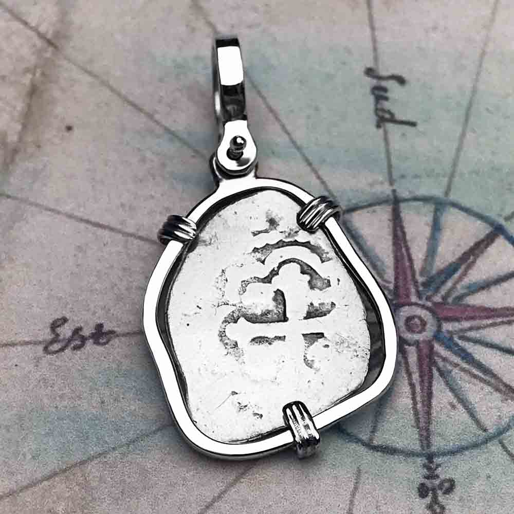 "1720 Spanish Silver 1/2 Reale Pirate ""Piece of Eight"" Pendant in Sterling Silver"