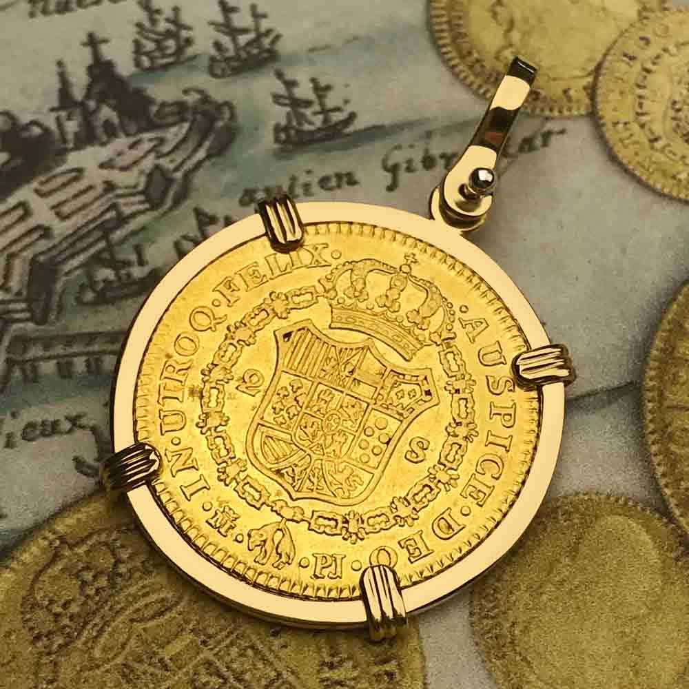RARE 1776 Spanish Gold Portrait 2 Escudo - the Legendary Doubloon - 18K Gold Necklace