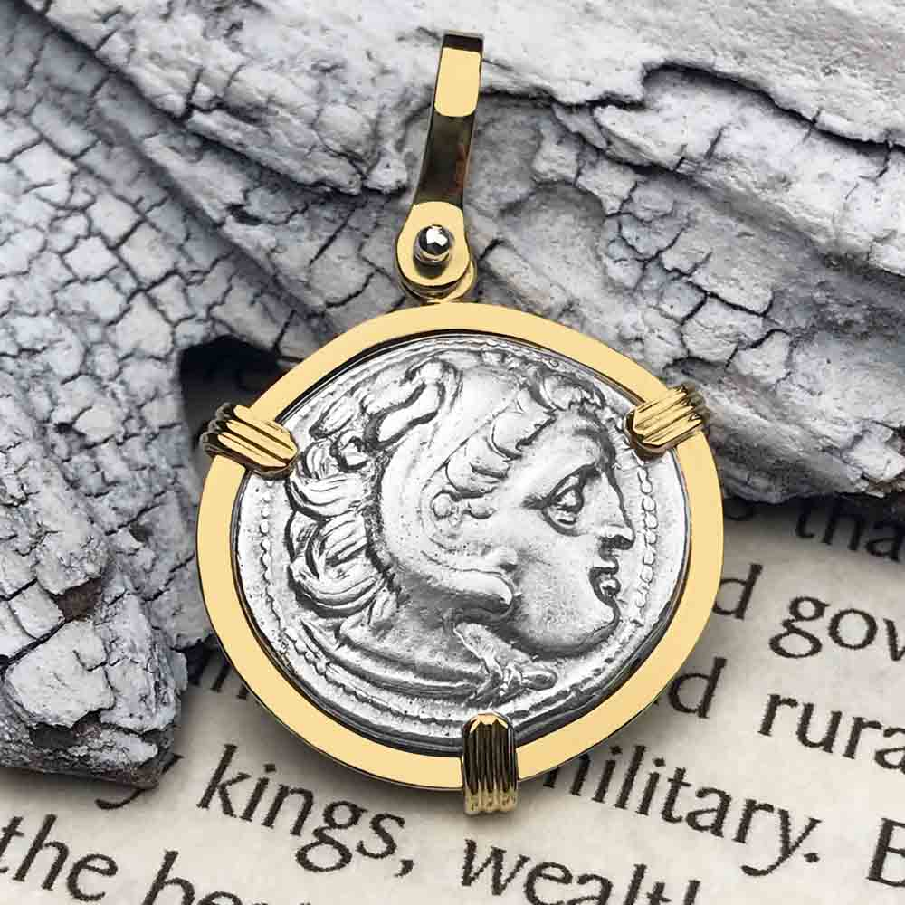 Ancient Greek Alexander the Great Silver Drachm Coin 18K Gold Necklace