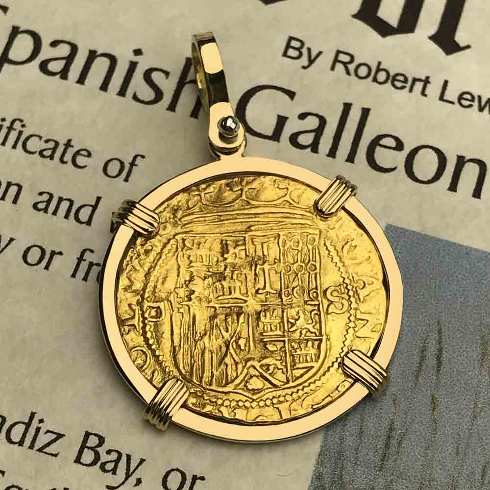 1535 Shipwreck 22K Gold 1 Escudo - the Legendary Doubloon 18K Gold Necklace