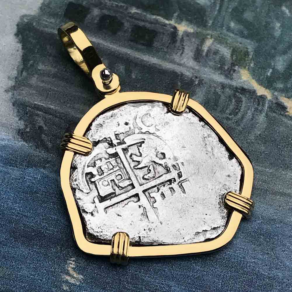 Rare Double Dated 1671 Consolacion Shipwreck Pirate 1 Reale Cob 18K Gold Necklace