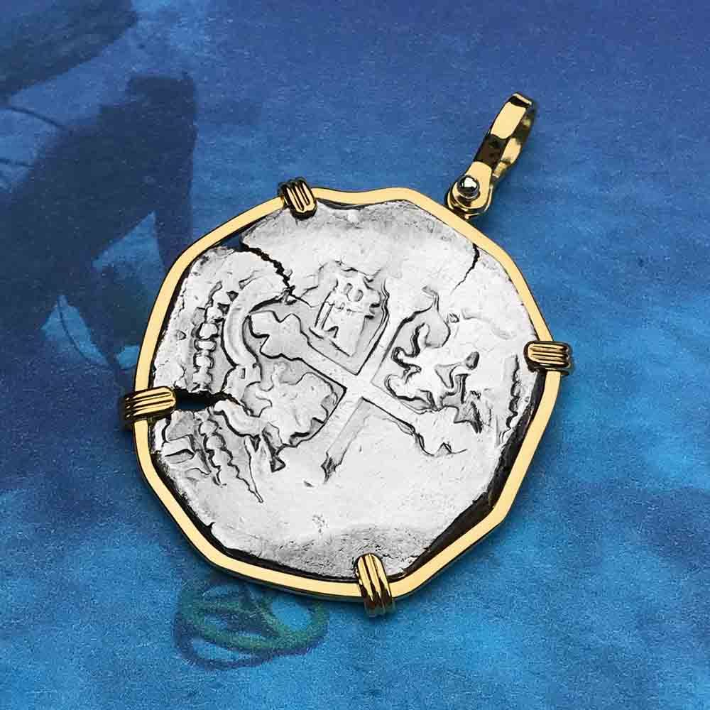 Concepcion Shipwreck Rare Spanish 4 Reale Silver Piece of Eight 18K Solid Gold Necklace